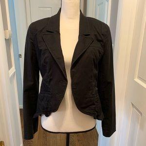 Juicy Couture ruffle high-low hem jacket/blazer.